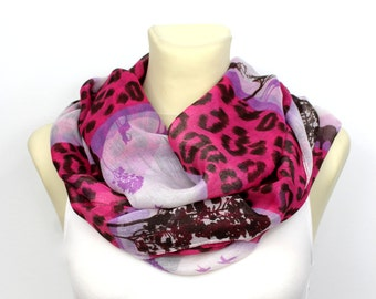 Pink Boho Scarf Leopard Infinity Scarf Printed Infinity Scarf Unique Fabric Scarf Personalized Gift for women Valentines Day Gift for her