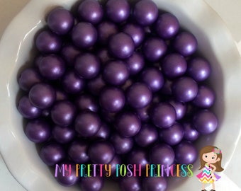 20mm Dark Purple Matte Finish Faux Chunky Beads Pearls (A67) *NEW