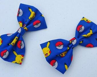 Pokemon Pikachu Bow - Pokemon Bow Tie, Pikachu Outfit, Pikachu Bow Tie, Geeky Bow Tie, Hair Bow, Pokemon Hair Clip, Pokemon Hair Bow, Geeky