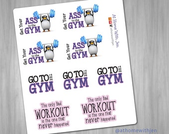 Fitness Planner stickers - Gym Motivation Stickers for your Erin Condren Life Planner, Plum Planner, Filoflax, ELCP, calendar