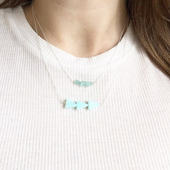 Ocean Current necklace | Amazonite, apatite | 14k gold filled & sterling silver