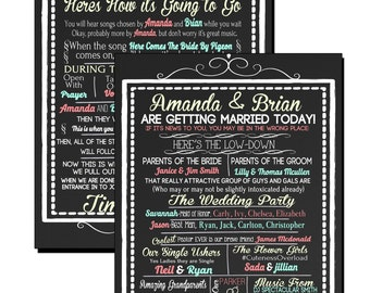 Funny Unique Wedding Program, hilarious wedding program in teal coral yellow (other colors available) modern wedding decor sign ID# SGNWED01