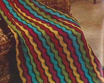 Vintage knit pattern afghan blanket throw 1969 download