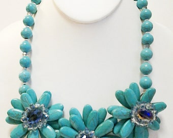Turquoise Flowers Necklace / Turquoise Flowers Bib Necklace.