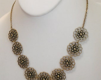 Bronze Little Flowers Bib Necklace / Bib Necklace