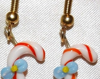 Candy Cane Hand-Blown Glass Earrings