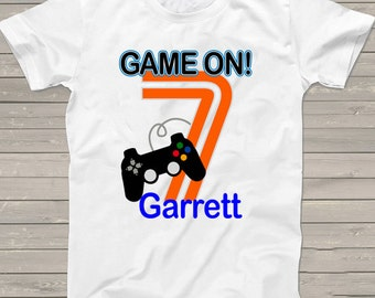 Game on 7th birthday shirt Video Gamer Personalized Game on t-shirt kids clothing gift for him, Birthday gift for her tshirt