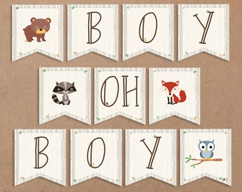 Woodland Baby Shower Banner, Boy Oh Boy. Animals Sign, Boy Shower - Printable - INSTANT DOWNLOAD, Digital file (11 Flags) Owl, Bear - BSU001