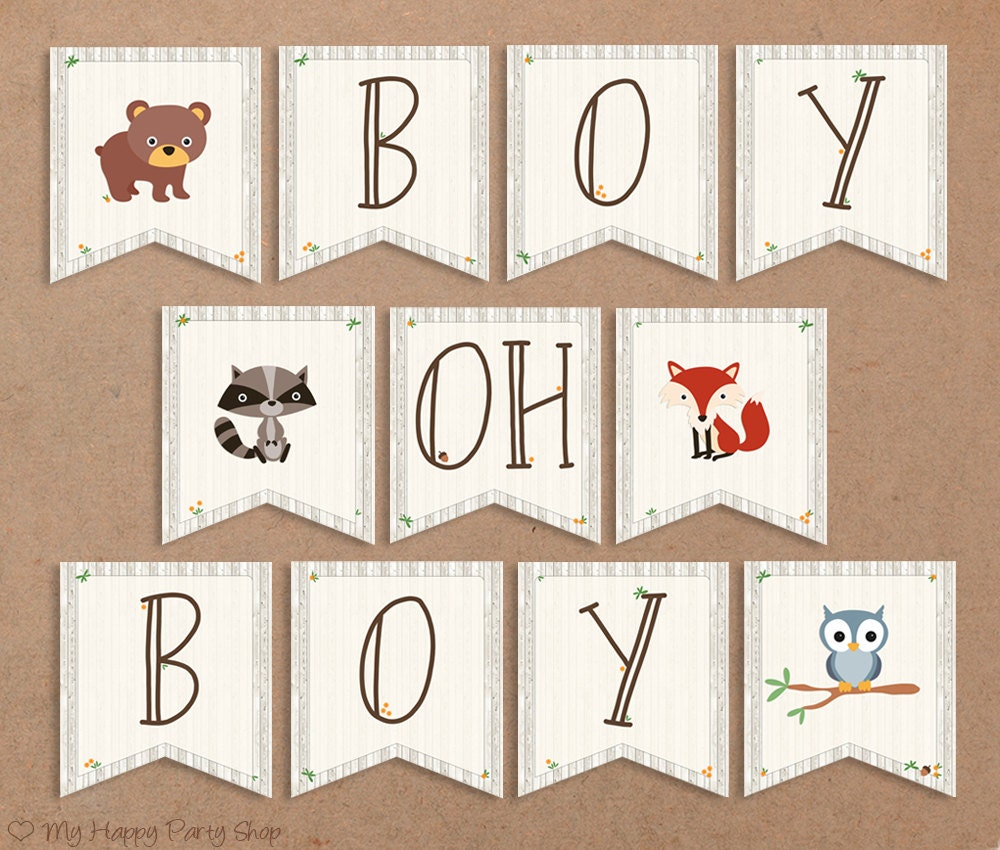 Woodland Baby Shower Banner Boy Oh Boy. Animals Sign Boy