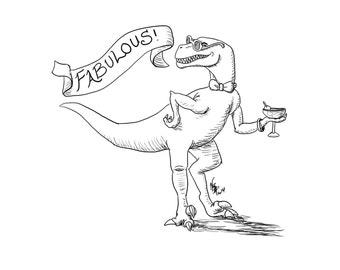 Fabulous Raptor- 5x7, 8X10, Art Print, Illustration