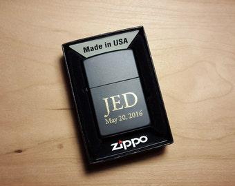 Engraved Zippo Lighter, Mens Personalized Zippo Lighter, Authentic Custom Zippo Lighter, Gift for Men, Black Lighter Valentines Gift for Him
