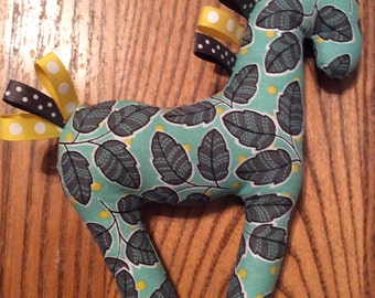 Stuffed Animal - Baby Horse Tag Toy - Turquoise, Yellow, Grey