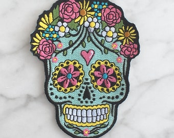 Sugar Skull Iron On Patch - Embroidered Applique – Day of the Dead