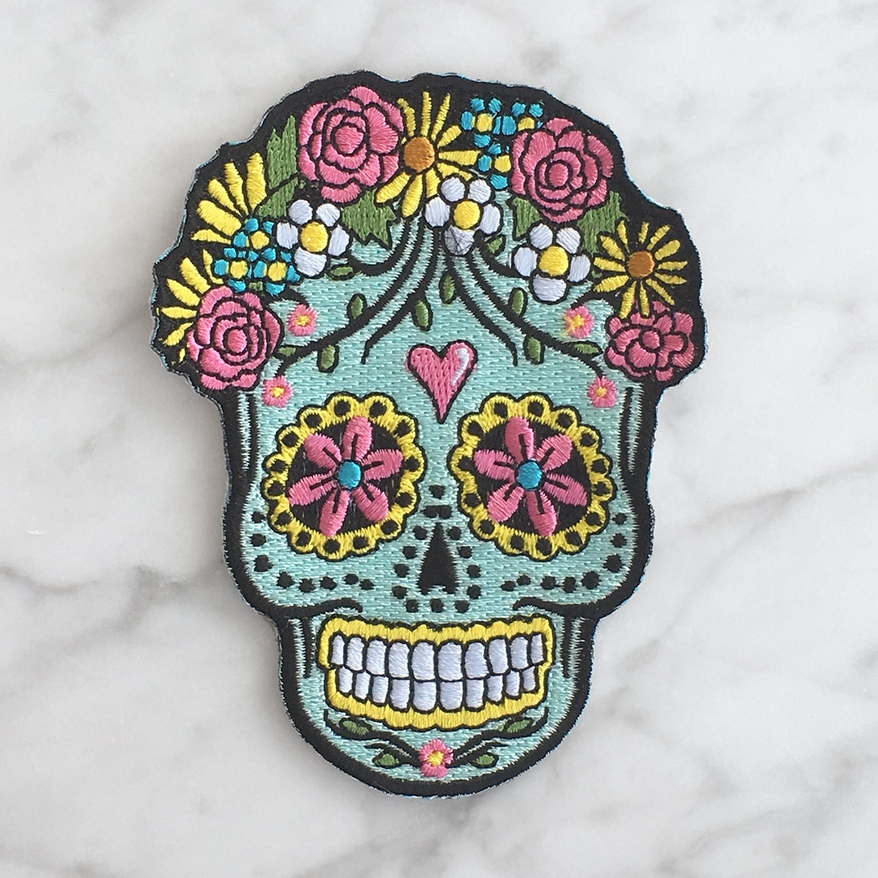 Sugar Skull Iron On Patch Embroidered Applique Day of the