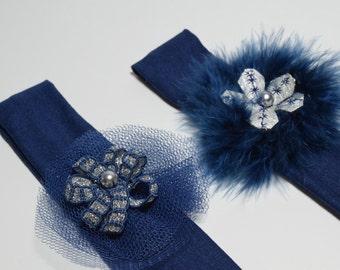 baby headband silver navy celebrations fur ball pen / child girl headband handmade creation made in France
