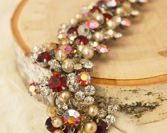Vintage 1960s Juliana Faux Pearl and Crystal Bracelet