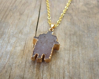 Small Hamsa Hand Druzy Necklace, Gold Edged Druzy Pendant - Bohemian Jewelry, Gold Boho Necklace, Gift for Her under 25 Dollars