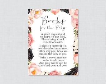 Boho Baby Shower Printable Bring a Book Instead of a Card Invitation Inserts - Bohemian Baby Shower Stock Baby's Library Card Feathers 0049