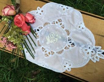 Monogrammed Handkerchief | Bridal Handkerchief | Wedding Hankie | Wedding Handkerchief | Something Blue | Bridal Hankie | Annabelle