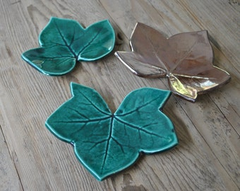 Set of 3 - Leaf Ceramic Plates, Handmade Tapas Plates, Emerald Green and Gold Bronze Serving Dish, Home Decor, Gift, Appetizer Plates