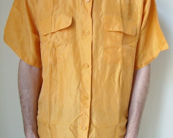 YELLOW SHIRT -short sleeve, saffron, amber, silk, 80s, prince of bel air, indie, hipster, cyber, club kid, elegant, 90s, aesthetics-