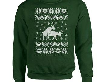 Ugly Christmas Pullover Reindeer Sweater Christmas Hoodie Holiday Gift Ideas Hooded Sweatshirt Christmas Reindeer Christmas Outfits DN-233