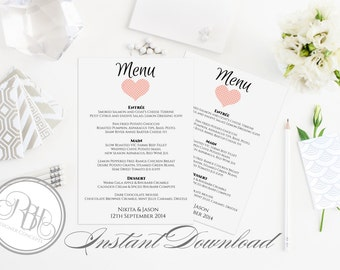 "Pink Heart Menu Birthday Party Template - INSTANT DOWNLOAD- DIY Text Editable-Romantic Pink Peach Heart Design - ""Kylie"""