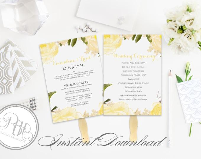 Yellow Peonies Wedding Program Fan Template -Instant DOWNLOAD - EDITABLE TEXT pdf Only - Yellow Peonies Watercolor 5 x 7-Juliet