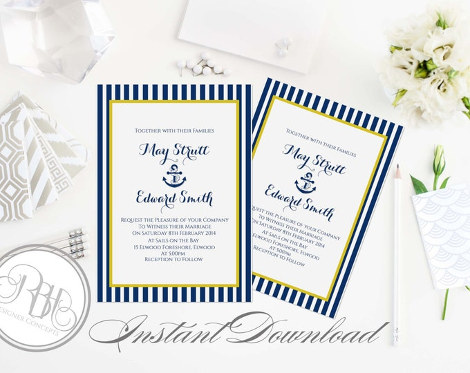 "Nautical Wedding Invitation-INSTANT DOWNLOAD Template- PDF Editable Text Only-Nautical Navy & Yellow Boat Anchor Printable - ""Xena"""