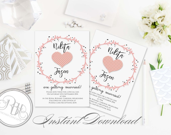 Rustic Pink Wreath Wedding Invitation Template-INSTANT DOWNLOAD-5x7 PDF Editable Text Only-Pink Love Hearts & Wreath-Kimberley