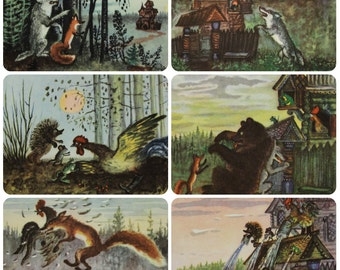 Teremok - Marshak Fairy tale - Illustrator Y. Vasnetsov -- Set of 6 Vintage Soviet Postcards. 1974 Sovetskiy hudozhnik. Wooden House, Bear