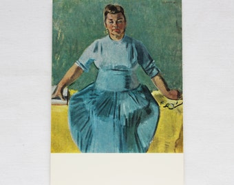 "Artist Vasiliev. Vintage Soviet Postcard ""Portrait of a woman"" - 1968. Sovetskiy hudozhnik. Woman, Dress, Blue, Glasses, Book"