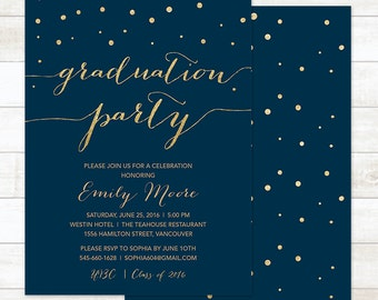 navy and gold graduation party invitation, graduation party invitation, gold confetti graduation invitation, college graduation invitation