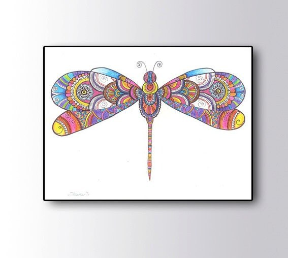 Colorful Dragonfly Drawing Bohemian Hippie Wall Art Decor