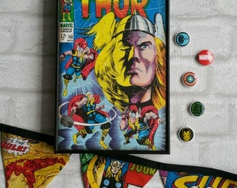 Thor Frame. Super Hero Wall Art with Vintage Style Comic Print of Thor