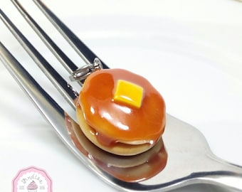 Pancake Charm, Pancake Jewelry, Miniature Food Jewelry, Polymer Clay Food, Food Necklace
