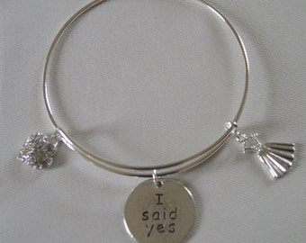 Silver Tone 'I Said Yes To The Dress' Bangle/Bracelet