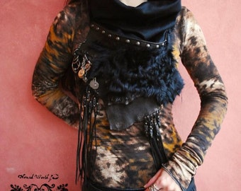 Bohemian,Gypsy,Hippie,Tribe,ND/Roma stole,Leather stole ( cashmere ) DX type!