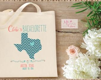 Chevron  State Custom Bachelorette Tote Bag   - Bachelorette Destination Tote