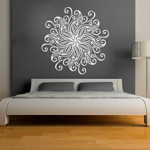 Mandala wall stickers decals indian pattern yoga oum by for Bed frame wall decal