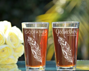 Godfather Godmother Gift, Baptism Gift for Godparents, Will You Be My Godparents, Christening Gift, Cross, Feather Glasses, Godfather Glass