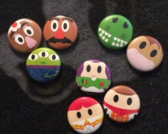 Toy Story inspired 1 inch pins! Perfect for park bags, lanyards, and jackets!