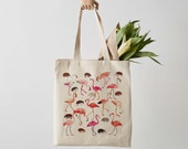 Alice in Wonderland Croquet Canvas Tote Bag With Flamingos and Hedgehogs, shopper, flamingo print, shoulder bag, fair trade, gift for her
