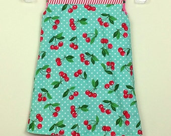 """Size 4 - Fully Reversible - """"Alexandra Dress"""" - in Retro Blue Cherries and Retro Pink Cherries on reverse"""
