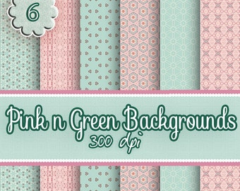 Digital Paper - 6 Pink 'n' Green Digital Paper Backgrounds, Commercial Use