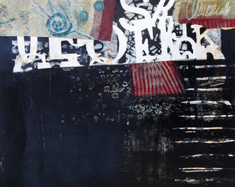 CROSSROADS II- Original Mixed Media Abstract Painting & Collage on watercolor paper-