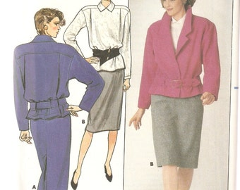 VINTAGE Butterick Sewing Pattern - Women's Clothes - Misses Jacket, Skirt & Blouse, Size 8-10-12
