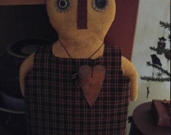 Ms. Pumpkinheart, a Handmade Fall Primitive Doll