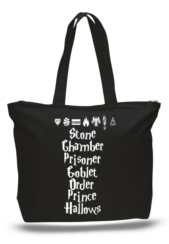 Harry Potter Book Bag : Harry potter books and symbols tote bag book by