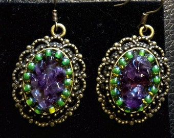 Amethyst vintage look earrings
